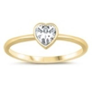 925 Sterling Silver BABY  Birth Stone  Cz Ring